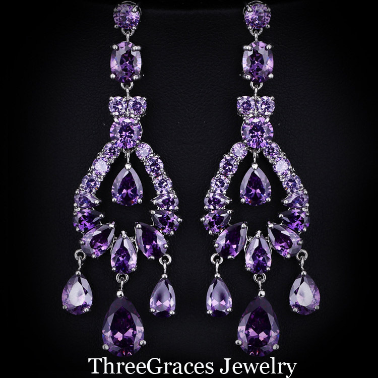 Bohemian Chandelier Earrings: Bohemian Style White Gold Plated Purple Cubic Zirconia Crystal Bridal Long  Drop Chandelier Earrings For Wedding Souvenirs ER030,Lighting