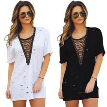 Buy V-neck Short Sleeve Hollow Mini Bf Style Loose Summer Women Dress Fashion Casual Beach Dress Vestidos De Renda Black/White for $12.97 in AliExpress store