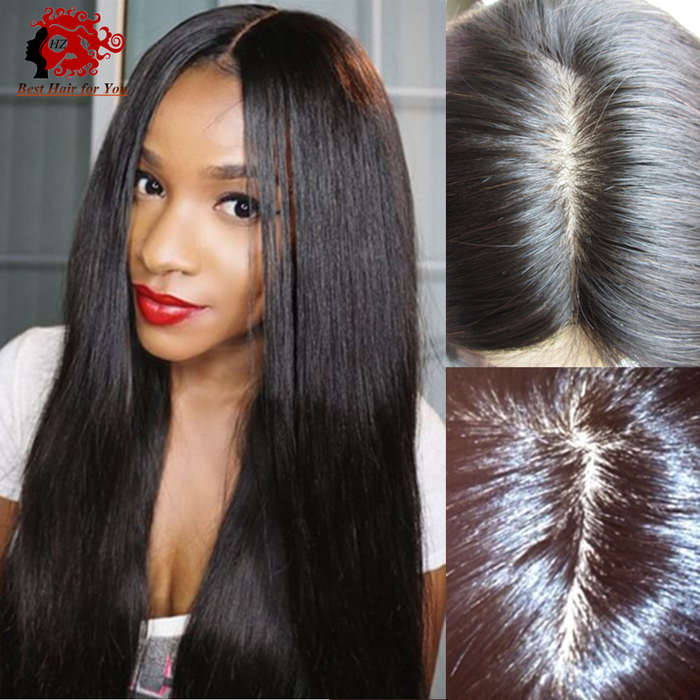 Top quality 4*4 silk top glueless full lace wig with natural hairline around silky straight peruvian silk top lace front wigs(China (Mainland))