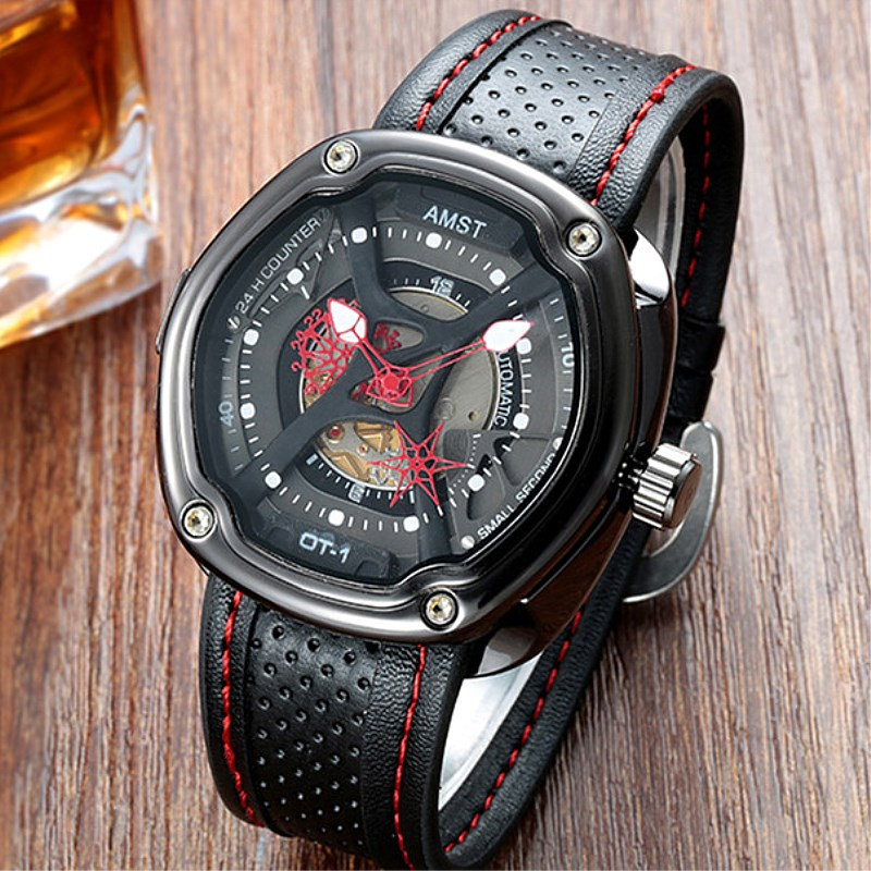 A Men Watch AMST Brand Fashion Big Dial Watch New Army Military Watch Montre Homme Waterproof Leather Strap Sports Quartz-Watch(China (Mainland))