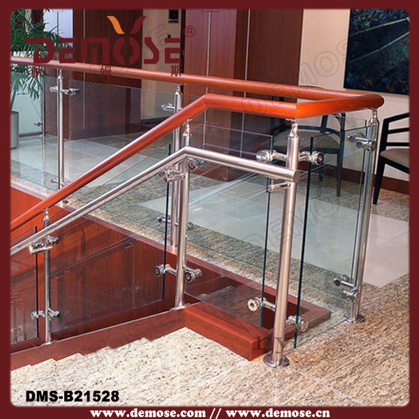 Elegant style outdoor wood glass railing for prefab in balustrades handrails from home - Give home signature look elegant balustrades ...