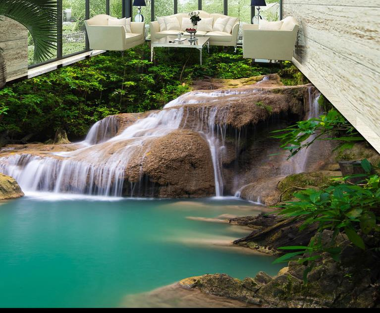 Waterproof floor custom 3d wallpaper floor waterfall for Waterproof wallpaper for bedrooms