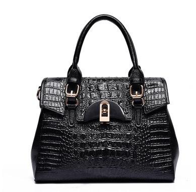 2016 brands designer women bag leather handbags luxury crocodile leather shoulder women messenger bags black large tote bag(China (Mainland))