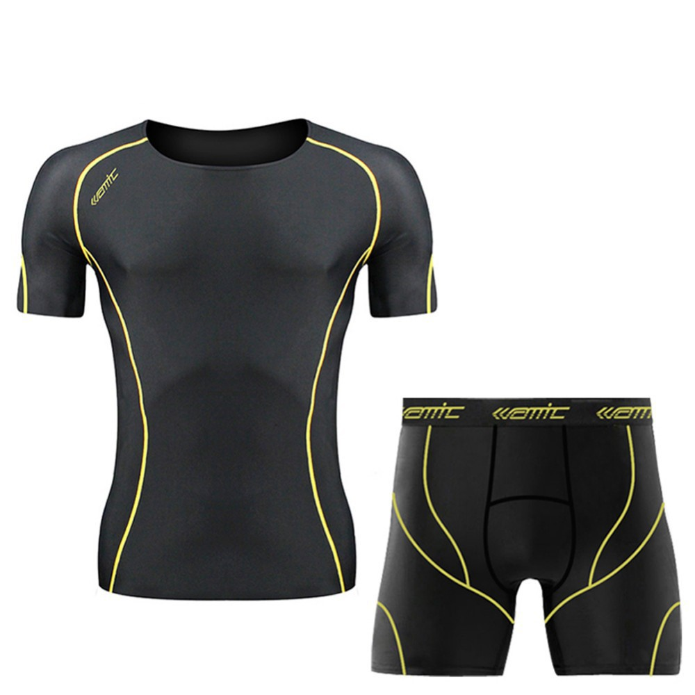 SANTIC Men's Tight Running Cycling Suit Compression Shirts W/Shorts Breathable Workout Bodybuilding GYM Fitness Clothing