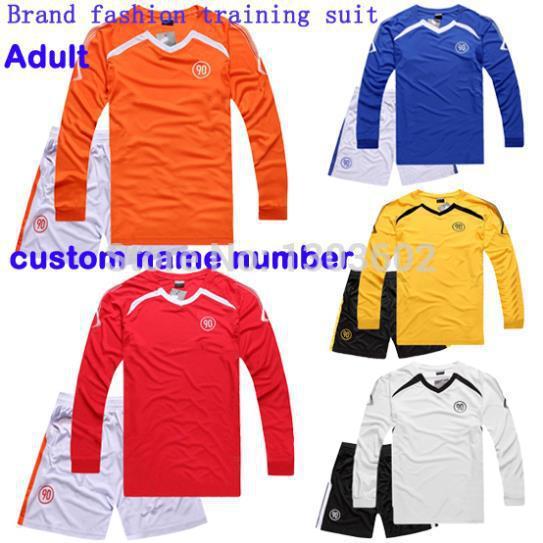 New!Best quality kits men fashion football shirt adult soccer jersey Adult football training suit long sleeve football jersey(China (Mainland))