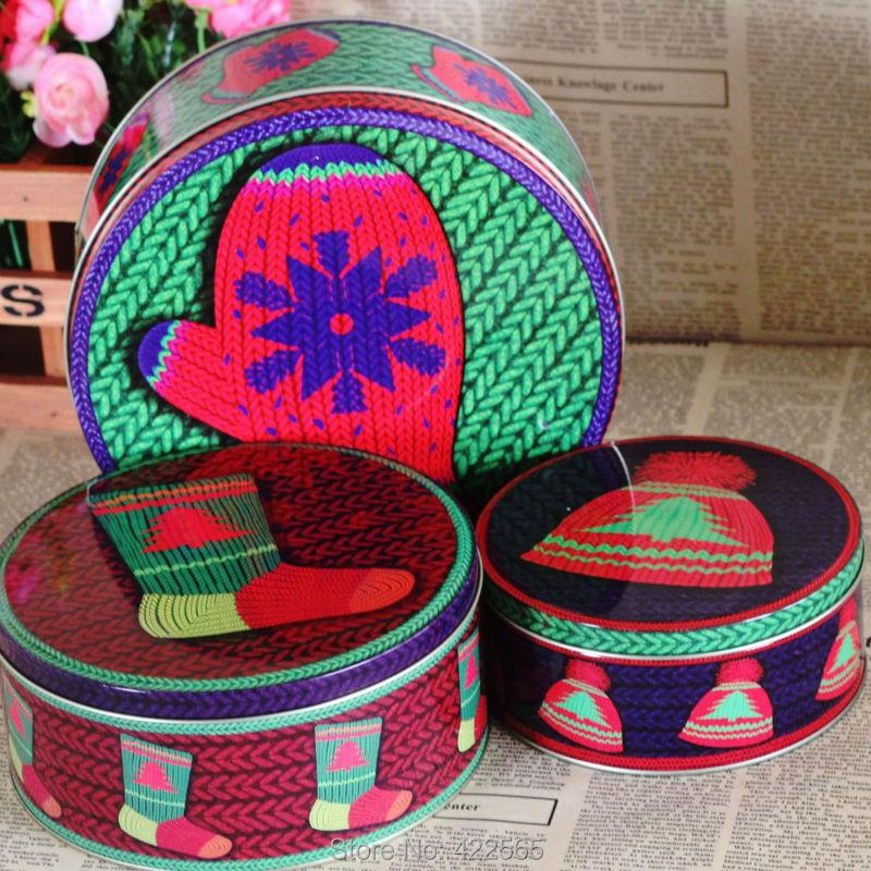 Free Shipping! 3pcs/lot Zakka Tin Box Christmas Gifts Set Metal Storage Box Round Metal Case HOT SALE! , #21292(China (Mainland))