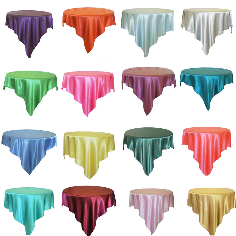 145CM X 145CM Square Satin Overlay Satin Tablecloth Cover for Wedding Party Restaurant Banquet Decor(China (Mainland))