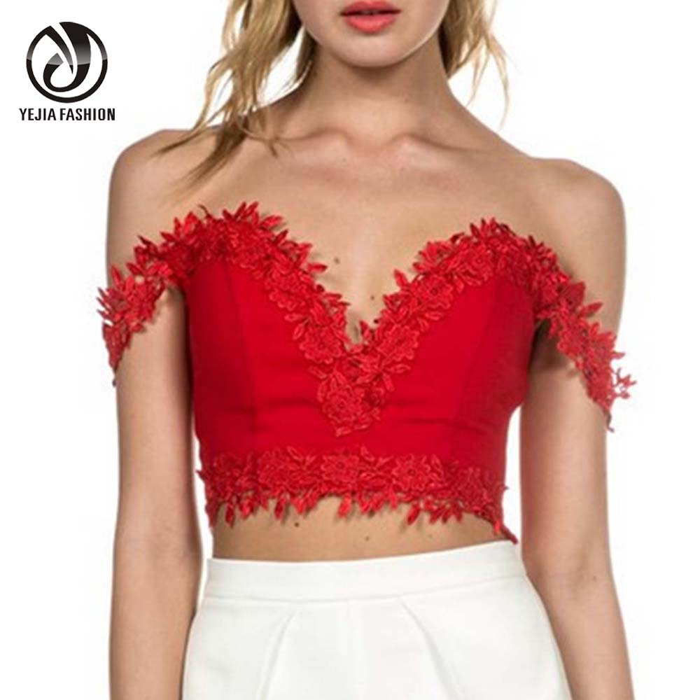 YeJia Hot Sexy Off Shoulder Low-Cut Lace Solid Blusa Deep V-Neck Cropped Tops Feminino Summer Basic Tops Backless Black Red(China (Mainland))