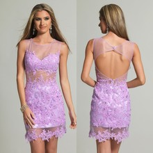 Lavender Lace Appliqued Cocktail Dresses 2016 Sheer Neck Beaded Sexy Backless See-through Mini Short Custom Made Party Dresses
