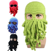 Winter Warm Novelty Handmade Knitting Wool Funny Cthulhu Beard Octopus Hats Mask Caps Crochet Tentacle Beanies Men Women Unisex