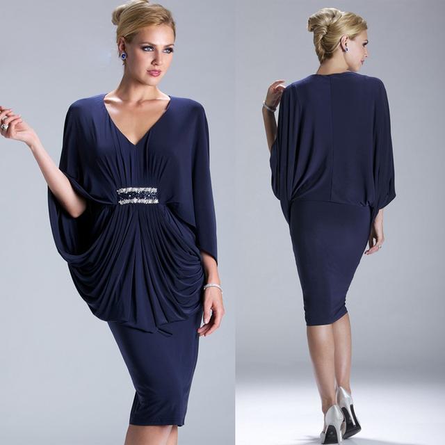 Мода темно-синий мать невесты платья 3/4 рукав бисером талии до колен формальные ...