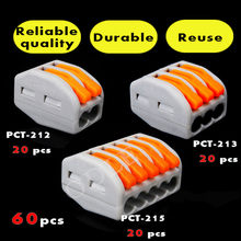 Buy  (60 PCS )Wago type PCT-212 213 215 20pcs 2P + 20pcs 3P + 20pcs 5P Universal Compact Wire Connector Conductor Terminal Block Co., LTD) for $11.70 in AliExpress store