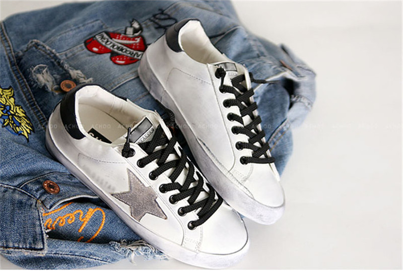 2015 Golden Goose Superstar Casual Shoes Men Woman Low Cut Shoes Italy Brand Genuine Leather White GGDB Shoes Uomo Scarpe Donna