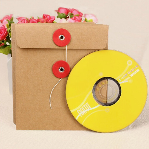 DHL 13*15cm 120Pcs/ Lot Retail Newly Brown CD/ DVD Package Pouch Single Piece Kraft Paper Sleeve Bags Blank Envelopes
