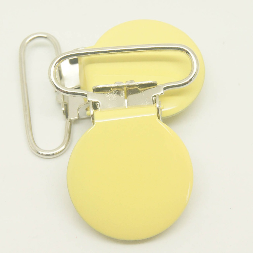 Hot selling 10per lot,round top suspender clips yellow 25mm ribbon pacifier clip