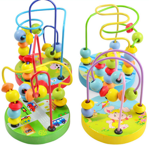 Kids Toddler Baby Colorful Wooden Mini Around Beads Wire Maze Educational Toy(China (Mainland))