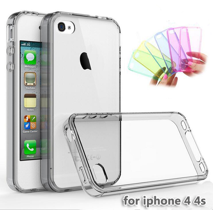 Ultra thin Colorful Transparent Clear TPU Case For iPhone 4 S 4S Soft Silicone Gel Case Back Cover Protection With Packing(China (Mainland))