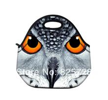 2014 New Owl face neoprene thermal portable hard disk bag women kids baby casual bags box tote waterproof food container(China (Mainland))