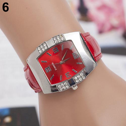 Hot 2015 New Womens Rhinestone Barrel Shape Case Faux Leather Band Analog Quartz Wrist Watch<br><br>Aliexpress