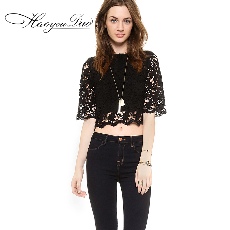 Haoyouduo new lace sweater 2015 spring sleeve bottoming shirt blouse female self-cultivation lace navelОдежда и ак�е��уары<br><br><br>Aliexpress