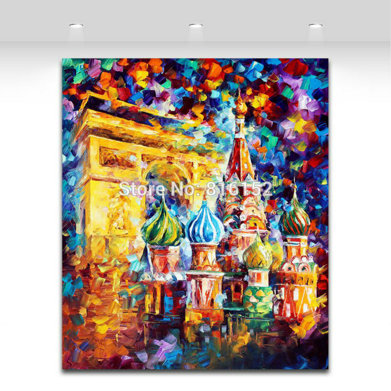 Buy 100% Hand-painted Palette Knife Triumphal Arch Russian Architecture Colorful Canvas Painting Home Office Wall Art Decor No Frame cheap