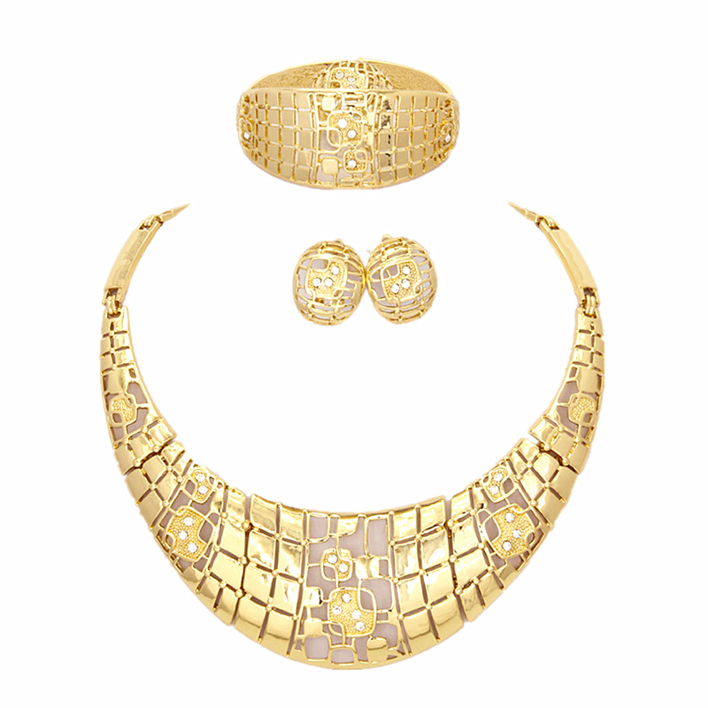 YIWU CZ Fashion18K Gold Plated Shinning Wide Necklace Crystal Jewelry Sets Necklaces Earrings Bracelet Rings(China (Mainland))