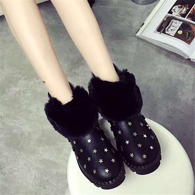 New Arrival Womens Ankle Boots Shoes Fashion Womens Snow Boots Shoes Winter 2015 Faux Fur Womens Shoes Warm