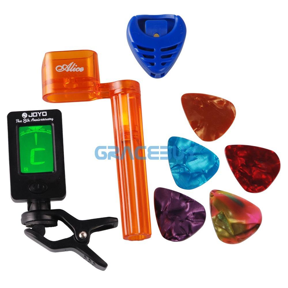 Tool Kits! 1 Chromatic Guitar Tuner afinador 1 Pick Plectrums Pics Holder 1 String Winder & Bridge Pin Puller and 5 Guitarpicks(China (Mainland))