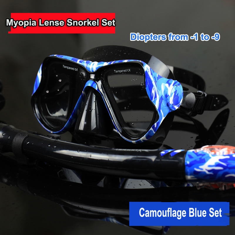 1 Set free myopia lens diving mask and dry snorkel set newest camouflage diving set multi diopters lens silicone diving masks(China (Mainland))