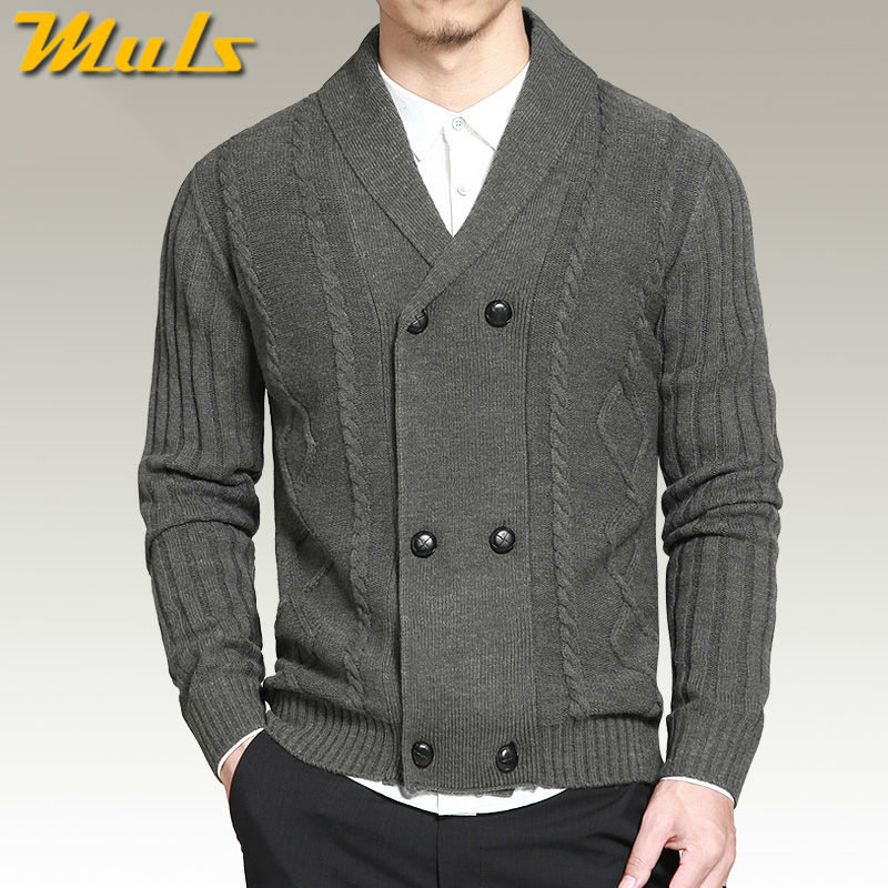 Cardigan men sweater wool knitted shawl collar rib design spring autumn double breasted sweater coat men Muls brand MS16012(China (Mainland))