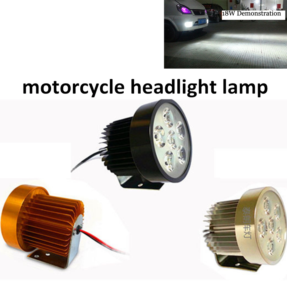 newest Super bright Electric Motorcycle light 1 pc motorcycle LED light 18W 6 beads external headlight lamp(China (Mainland))