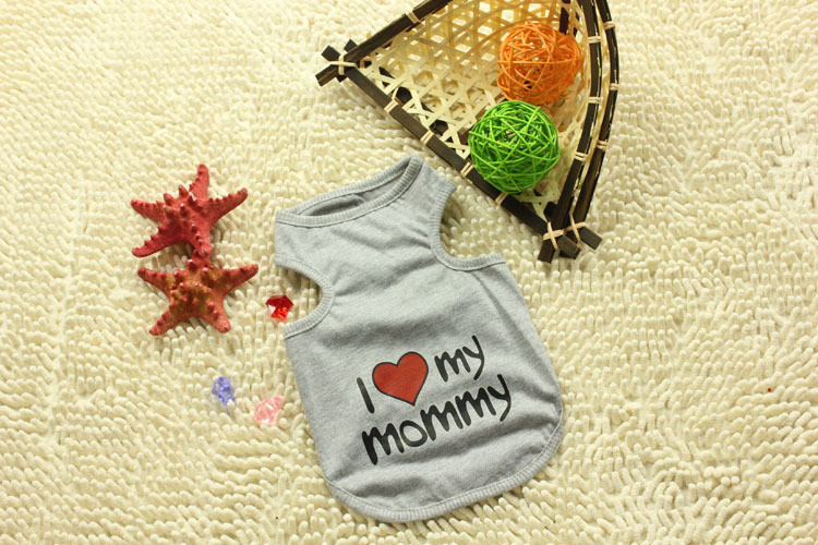 Pets Dogs Summer Vests Clothes Cotton Comfortable Puppy's Cute Tshirt Cool Fashion Sweet Love Mommy Daddy 5pcs New Arrival style(China (Mainland))