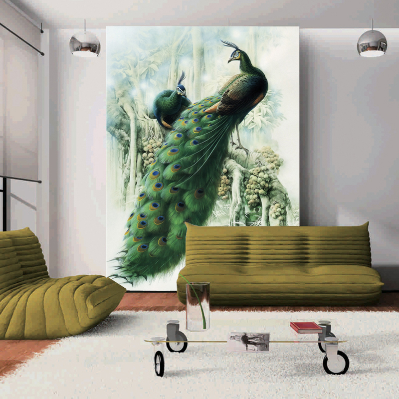 Peacock large 3d wall murals waterproof non woven photo for Wallpaper for large walls