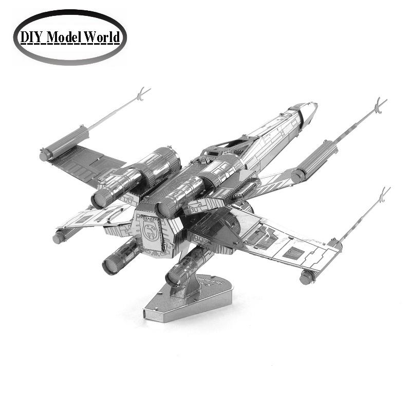 X wing Star Fightermodel laser cutting 3D puzzle DIY metalic spacecraft jigsaw free shipping Star war