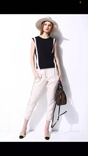 New 20156Fashion Women's Casual Loose Sleeveless Chiffon Vest Tank T Shirt Tops knit lady clothes two colors ZY1002 (China (Mainland))