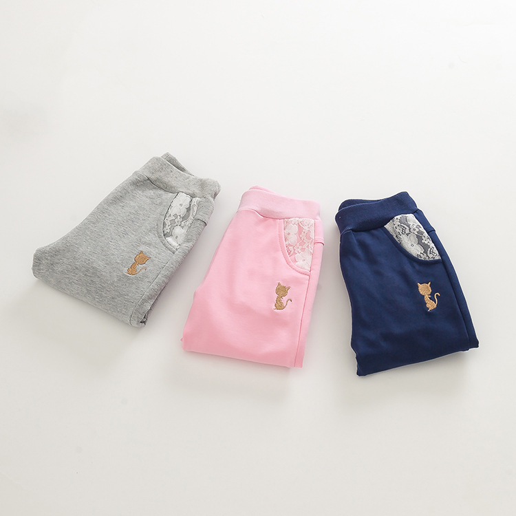 Spring childrens girls leisure cat embroidery lace Pocket boy pants<br><br>Aliexpress