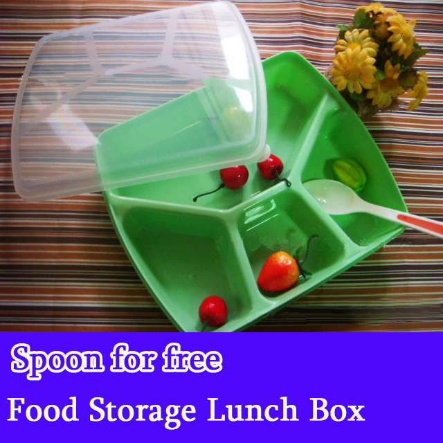 Quality 4 Lattices Baby Food Storage Box Kids plastic food storage containers Eco-Friendly Meal Box Camping Vacuum Lunch Box(China (Mainland))