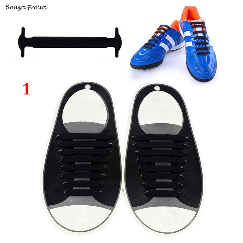 Senza Fretta 16Pcs Lazy No Tie Shoelaces Silicone Shoelaces Elastic Shoe Laces for Sneakers D01382