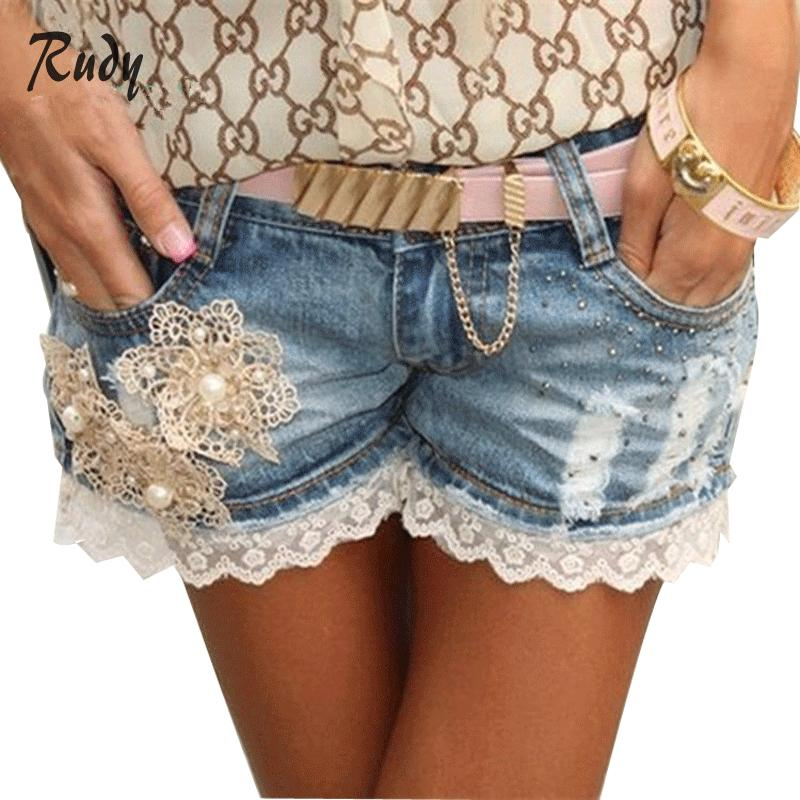 Free Shipping Floral Lace Blue Low Waist Boyfriend Jeans For Women Beading Denim Shorts SH5033(China (Mainland))