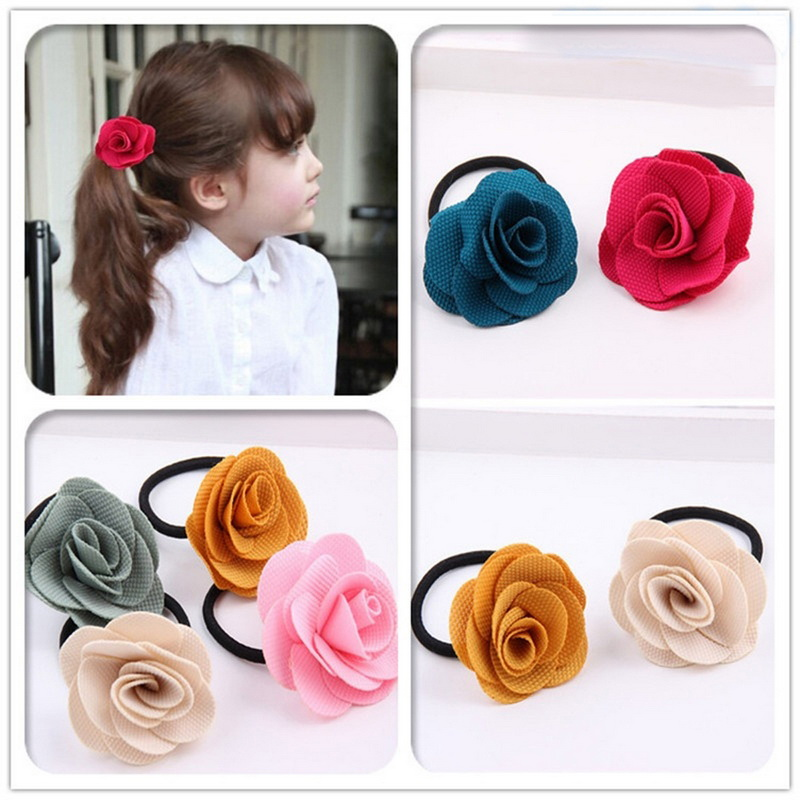 Hair Accessories Candy Color Flowers Elastic Head Band For Children Girls Korean Circle Baby Headband Fine Accessories 1PC(China (Mainland))