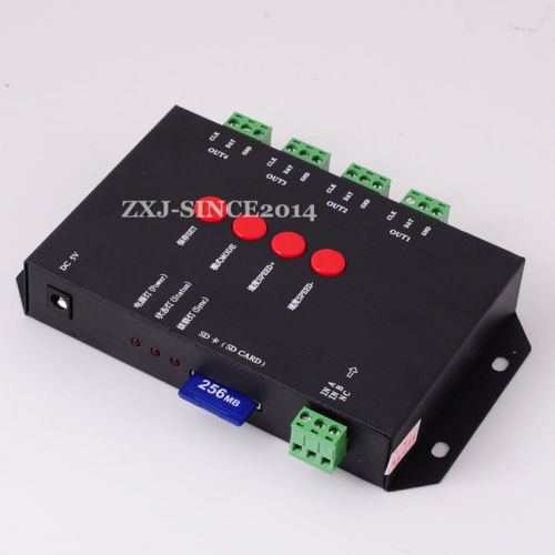 T4000S SD Card RGB LED Controller Configurable DMX512 For LPD8806 WS2801 TM1812 WS2811 WS2812 Led Strip(China (Mainland))