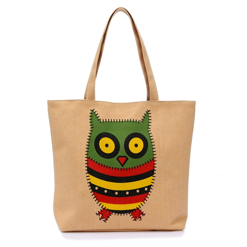 New 2016 Designer Owl Printed Canvas Bags Women Tote Bag Fashion Shoulder Bag Beach Handbags Girls Bolsa Feminina(China (Mainland))