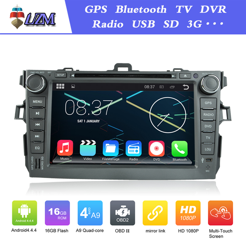 Pixels 1024*600 Android 4.4 Toyota corolla Car DVD GPS Navigation capacitive 3G Wifi 2007 2008 2009 2010 2011 1.6G quad core CPU(China (Mainland))
