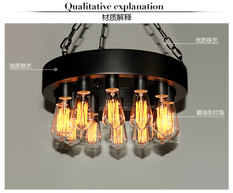 Edison Industrial Vintage Style Iron 12 Or 18 Lights Disk Pendant Ceiling Lamp E27(China (Mainland))