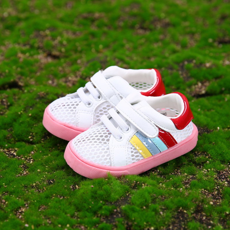 2016 Summer Casual Breathable Baby Shoes Air Mesh White Girls Sneakers Soft Bottom First Walkers Hollow Chaussure Enfant Garcon(China (Mainland))
