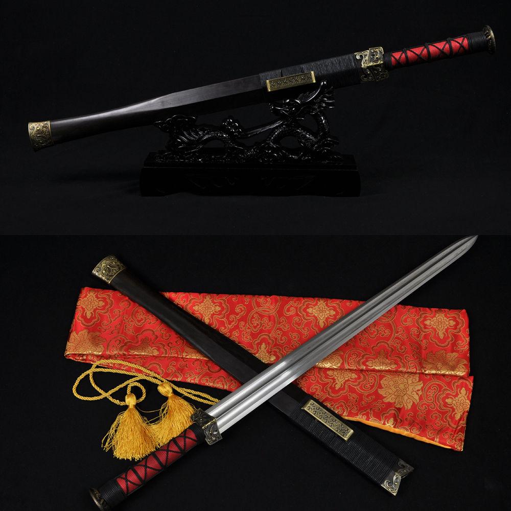 Real Handmade Chinese Sword Han Jian Damascus Steel Straight Full Tang Blade- Battle Kung Fu China Swords Double Edge Very Sharp(China (Mainland))