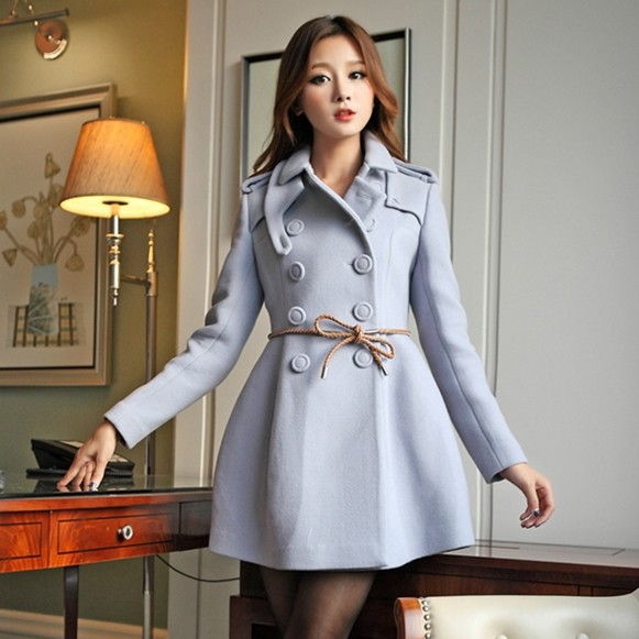Military Knight Style Double Breasted Slim Fit Skirt Wool Pea Coats For Women Winter 2013 Fashion Skirted Woolen Peacoats(China (Mainland))