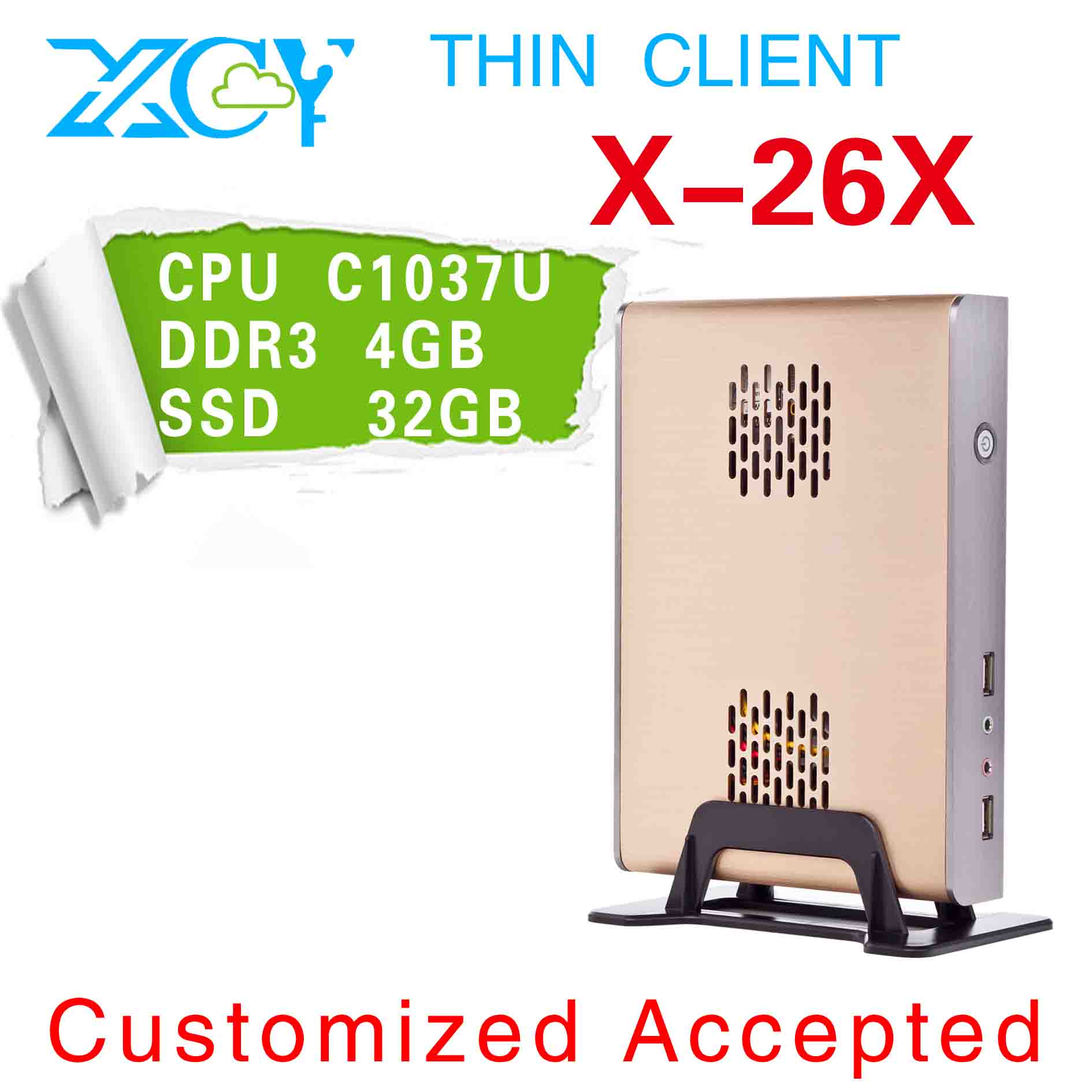 Low power low heat XCY X-26x Fanless Mini PC, mini linux computers, ultra thin computer with HDMI+VGA(China (Mainland))