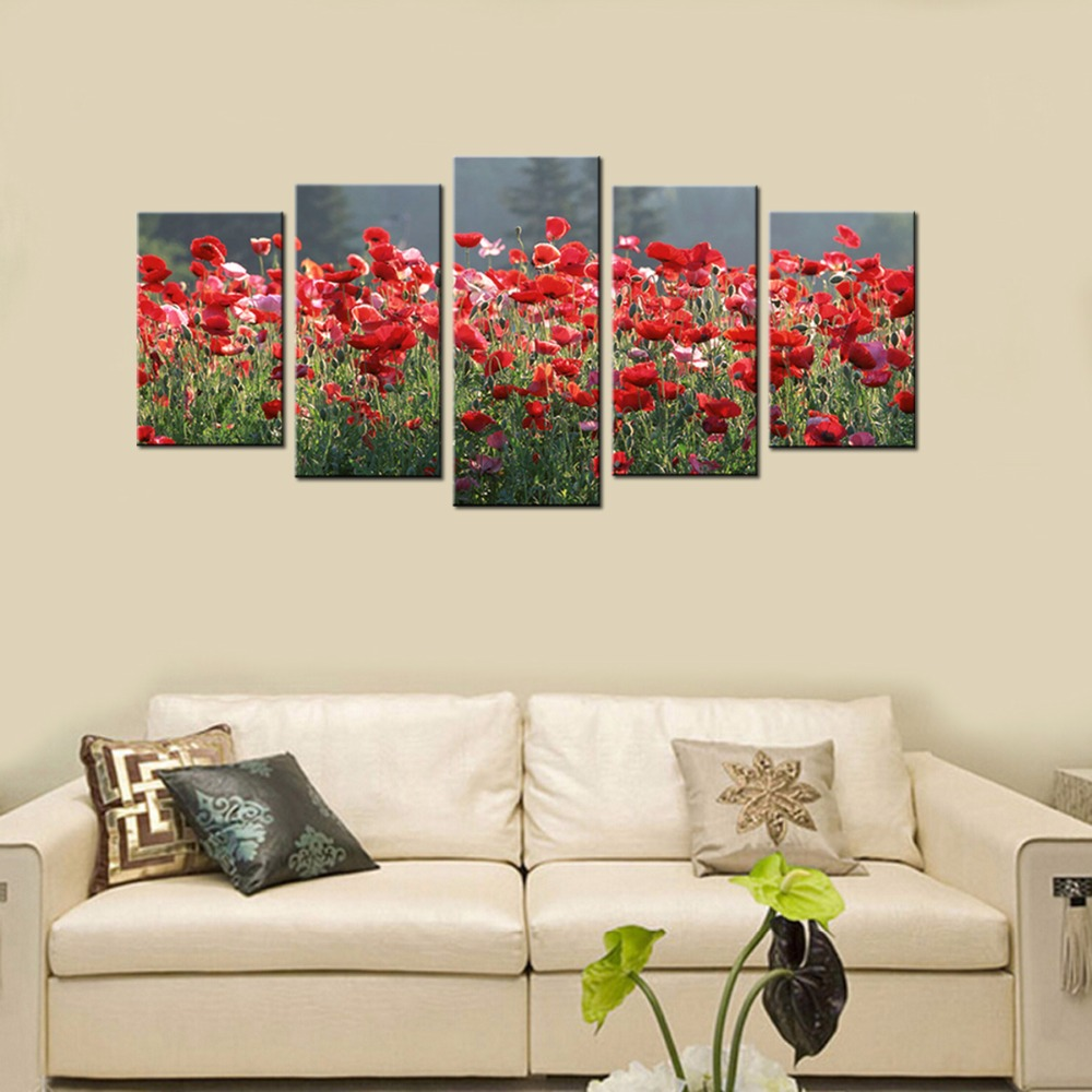 Modern Flower Scenery Canvas Prints Artwork Red Poppies Pictures Spray Painting for Living Room Landscape Wall Art Pictures(China (Mainland))
