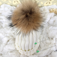 Baby's Winter knitted hat with fox fur poms poms Unisex beanies for kids flexible casual snow caps Apparel Accessories(China (Mainland))